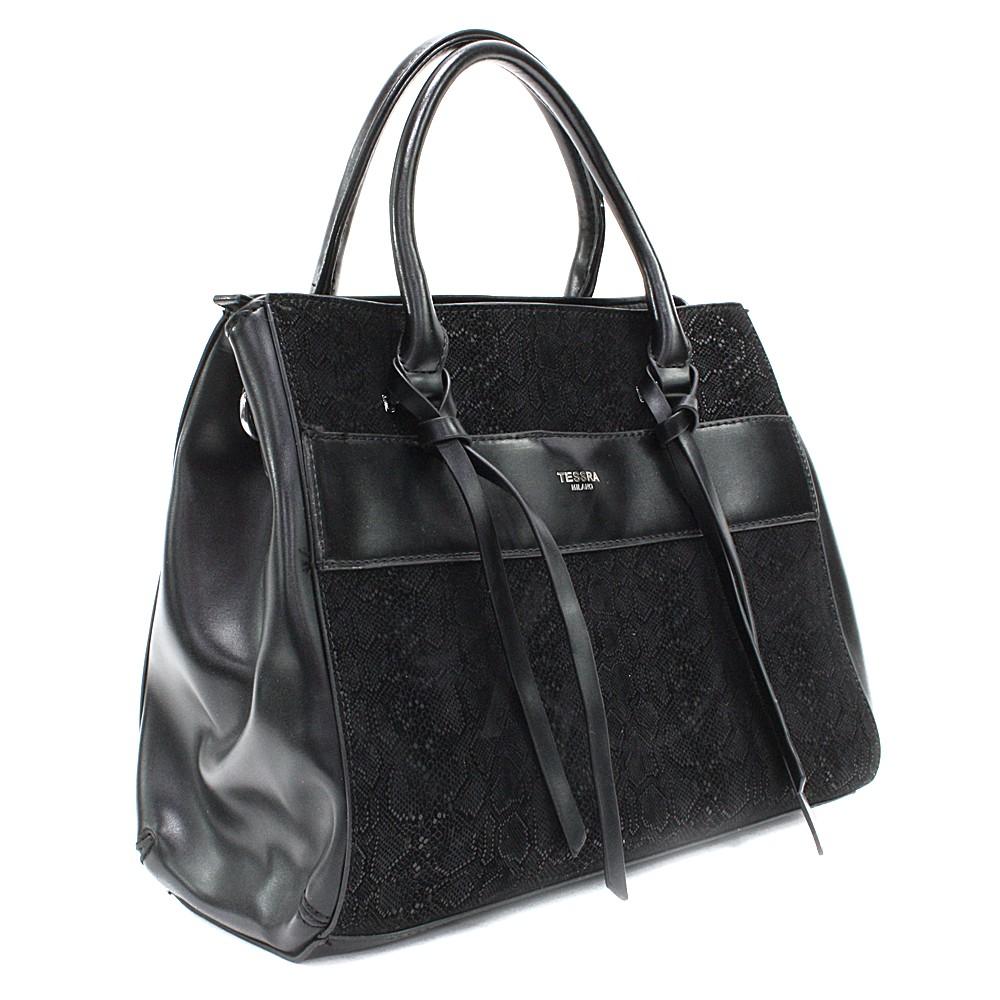 Černá dámská kufříková kabelka s hadím vzorem Voletta