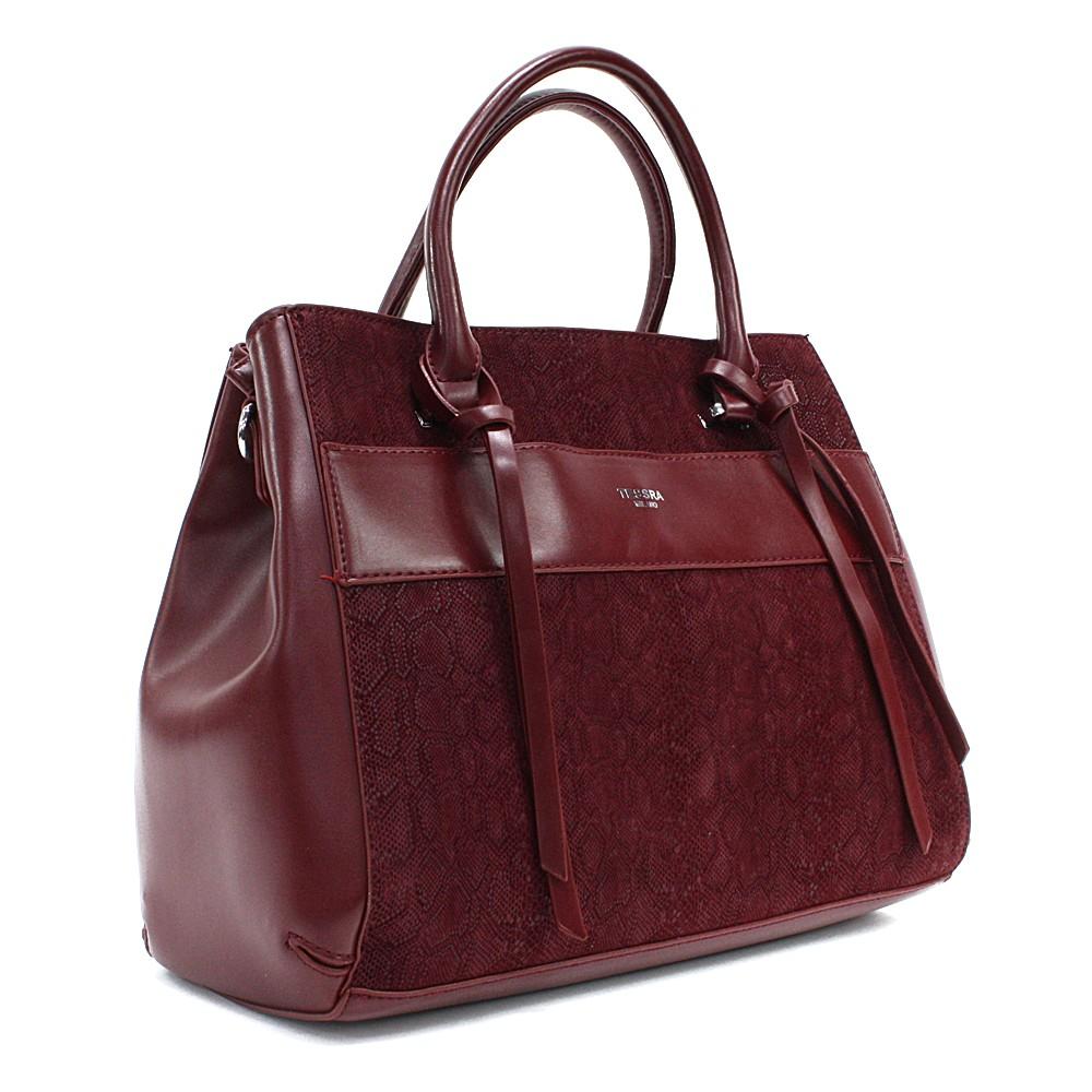 Vínově červená dámská kufříková kabelka s hadím vzorem Voletta