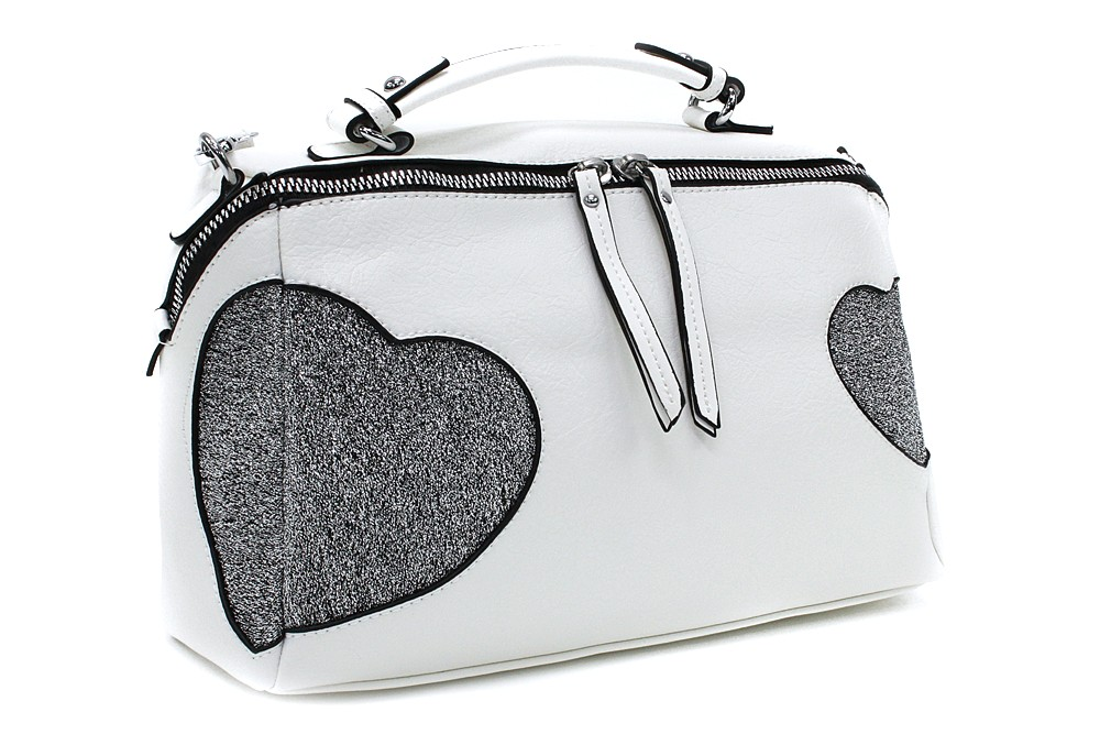 Bílá stylová srdíčková dámská kabelka Hilaire