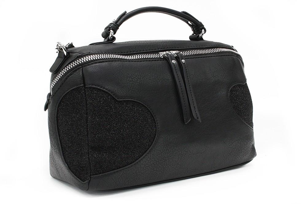 Černá stylová srdíčková dámská kabelka Hilaire