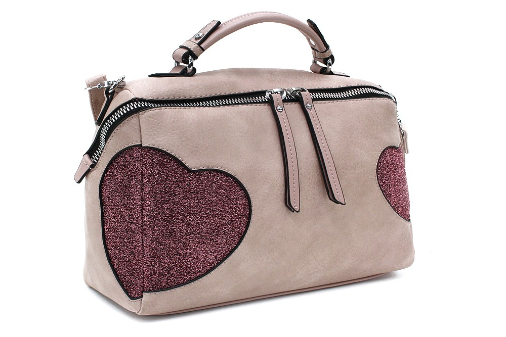 Růžová stylová srdíčková dámská kabelka Hilaire