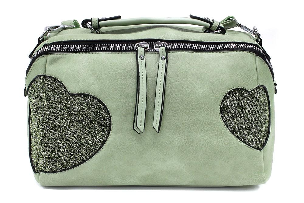 Zelená stylová srdíčková dámská kabelka Hilaire