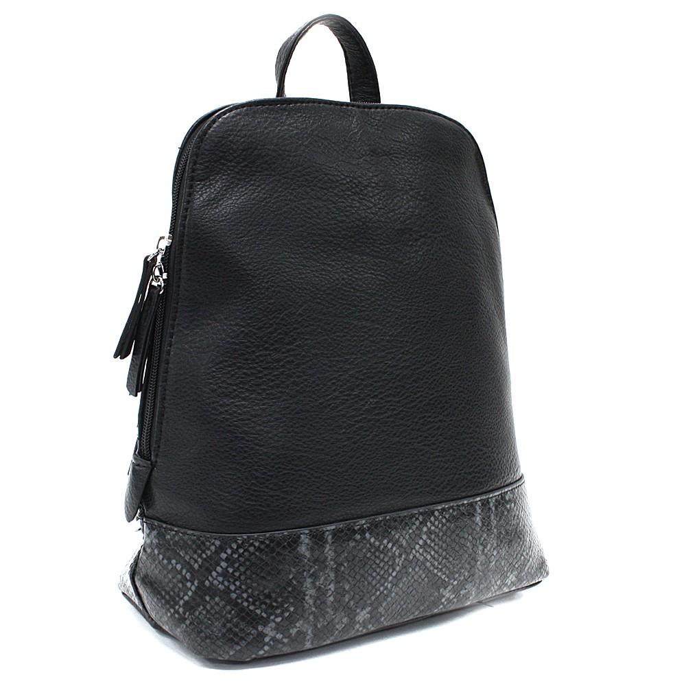 Černý stylový dámský batoh/kabelka Leondra