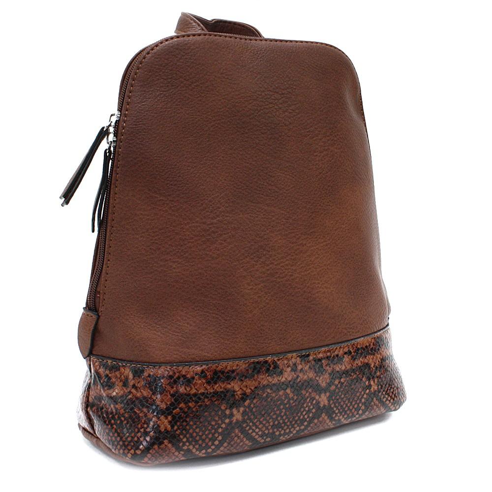Hnědý stylový dámský batoh/kabelka Leondra