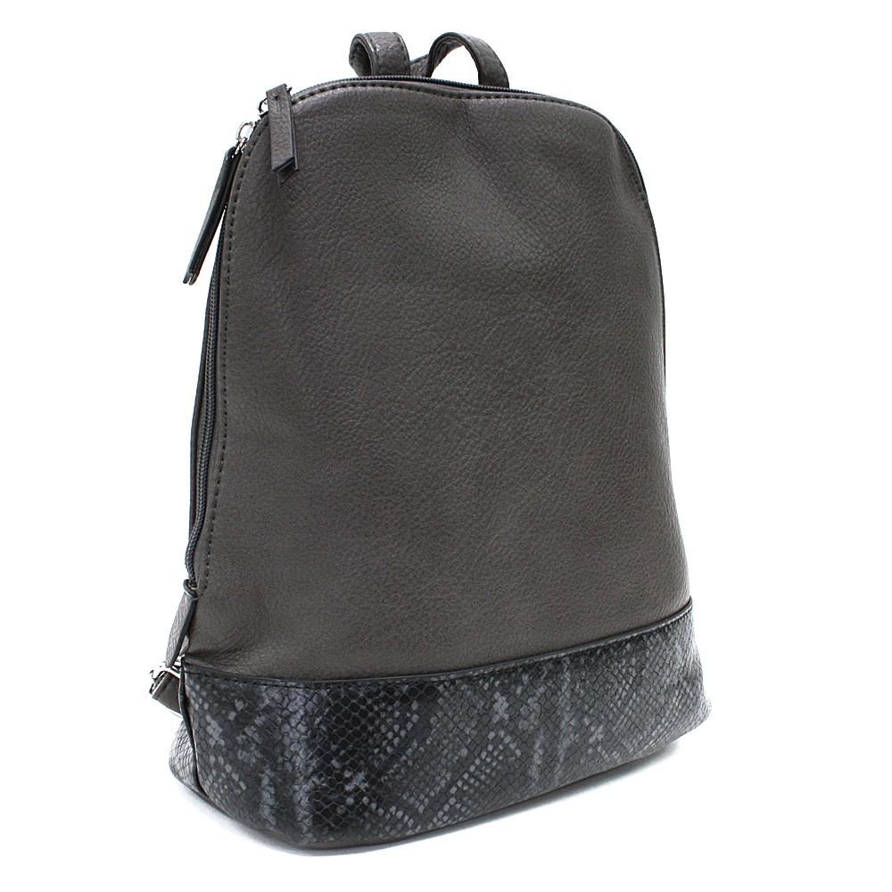 Tmavě šedý stylový dámský batoh/kabelka Leondra