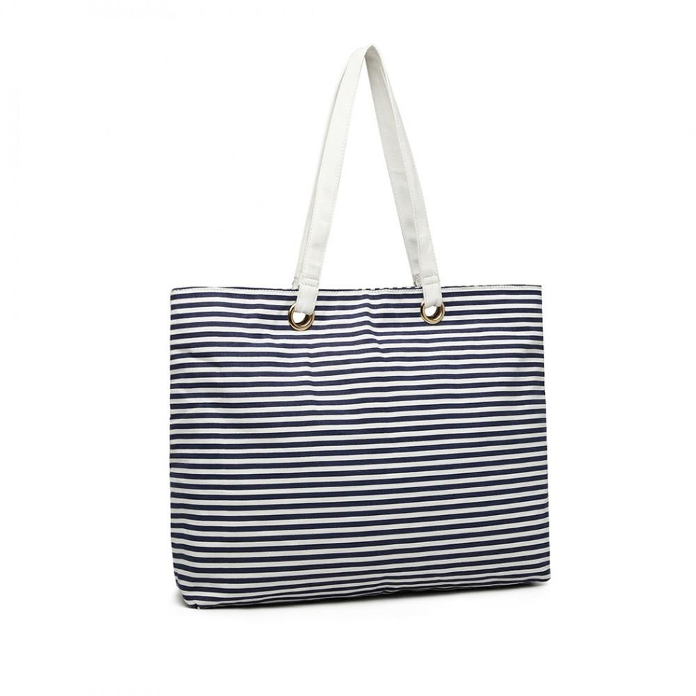Tmavě modrá velká plátěná letní dámská taška přes rameno Halette