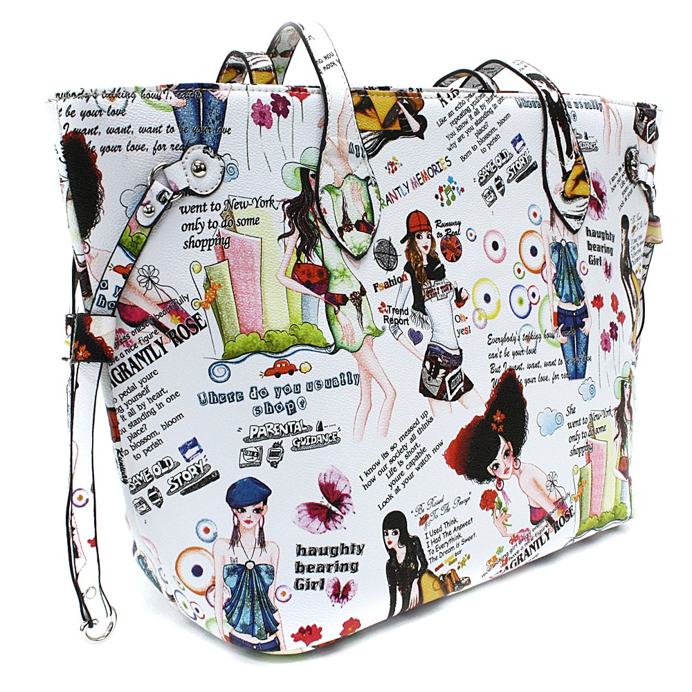 Bílá dámská kabelka přes rameno s motivem Lucette