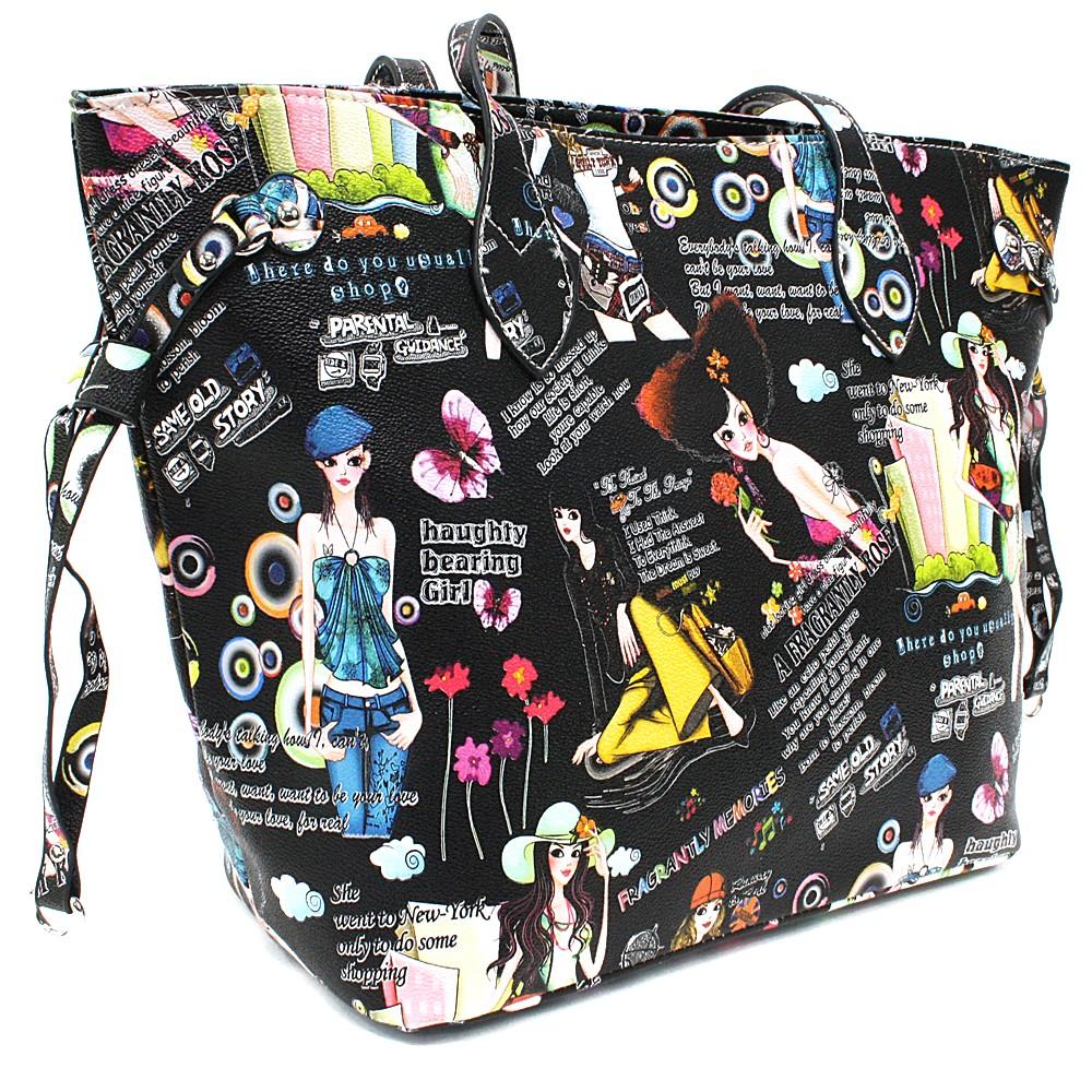 Černá dámská kabelka přes rameno s motivem Lucette