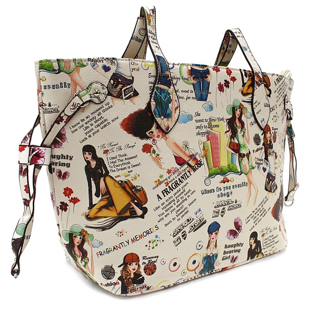 Béžová dámská kabelka přes rameno s motivem Lucette