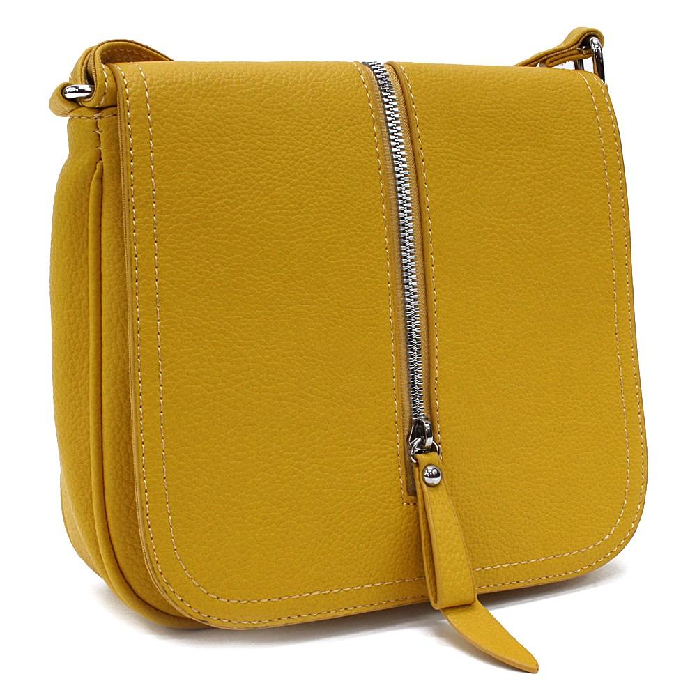 Žlutá malá dámská crossbody kabelka s klopnou Jeslyn