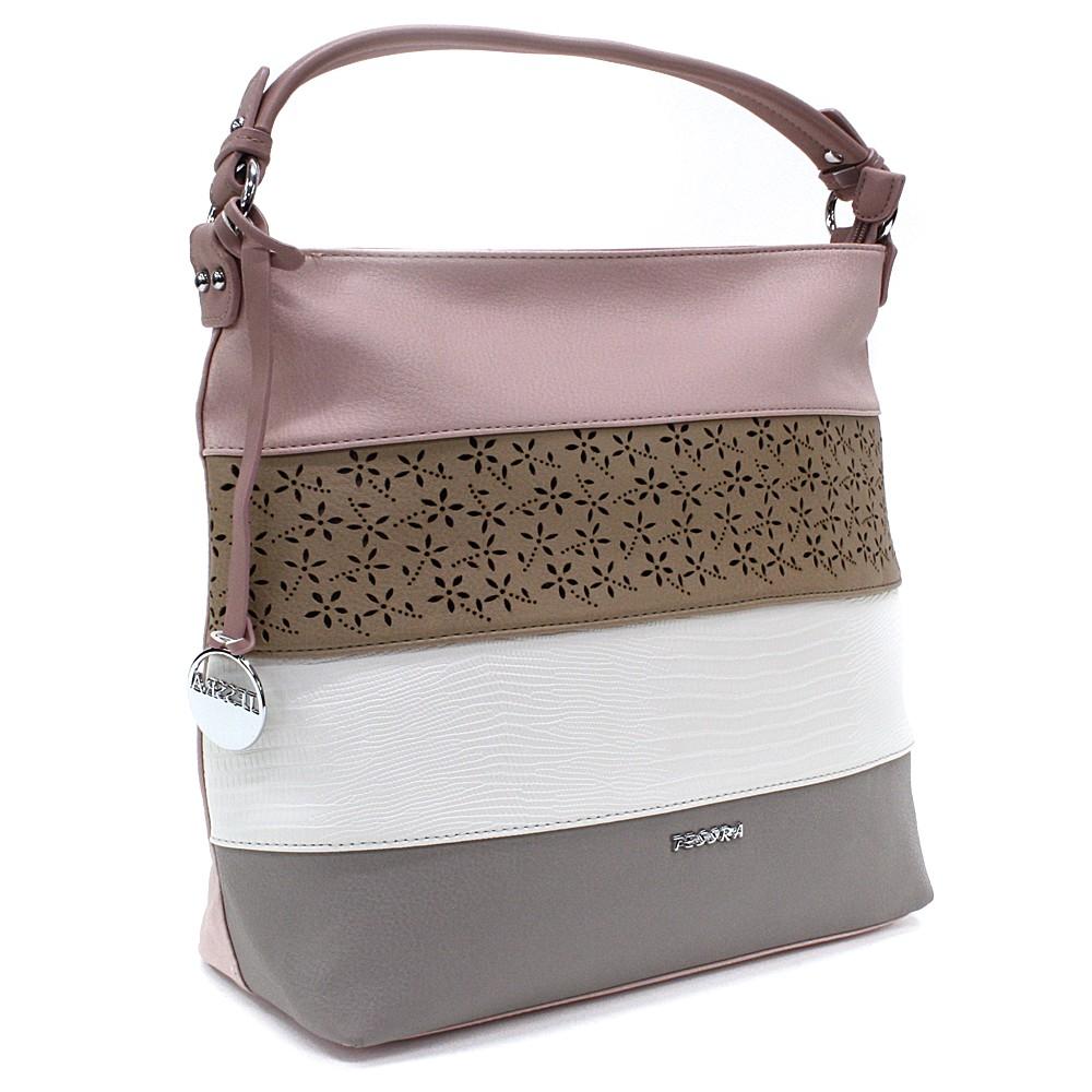 Růžová barevná dámská kabelka na rameno Fayanna