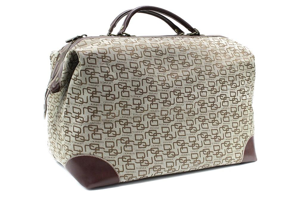 Hnědobéžová velká cestovní látková taška se vzorem Gabie