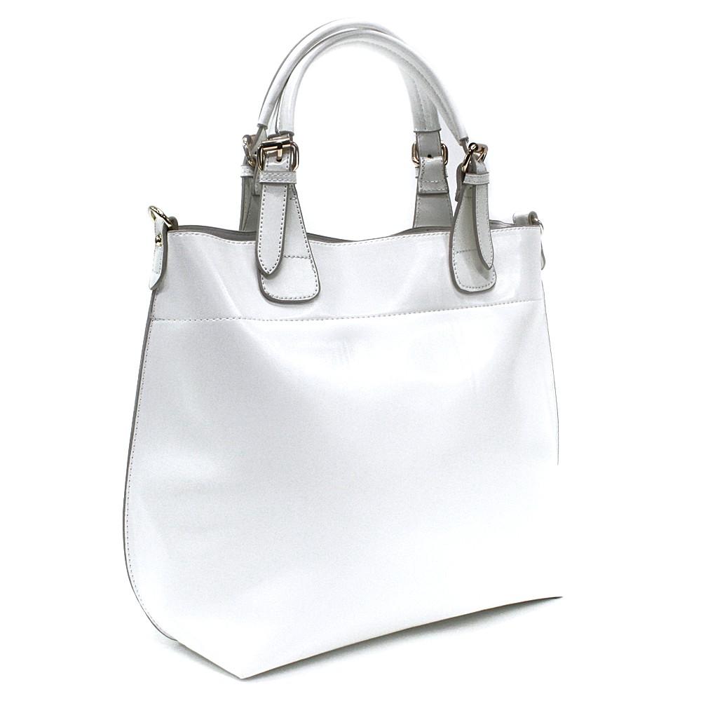 Bílá dámská luxusní kabelka do ruky i přes rameno Apollina