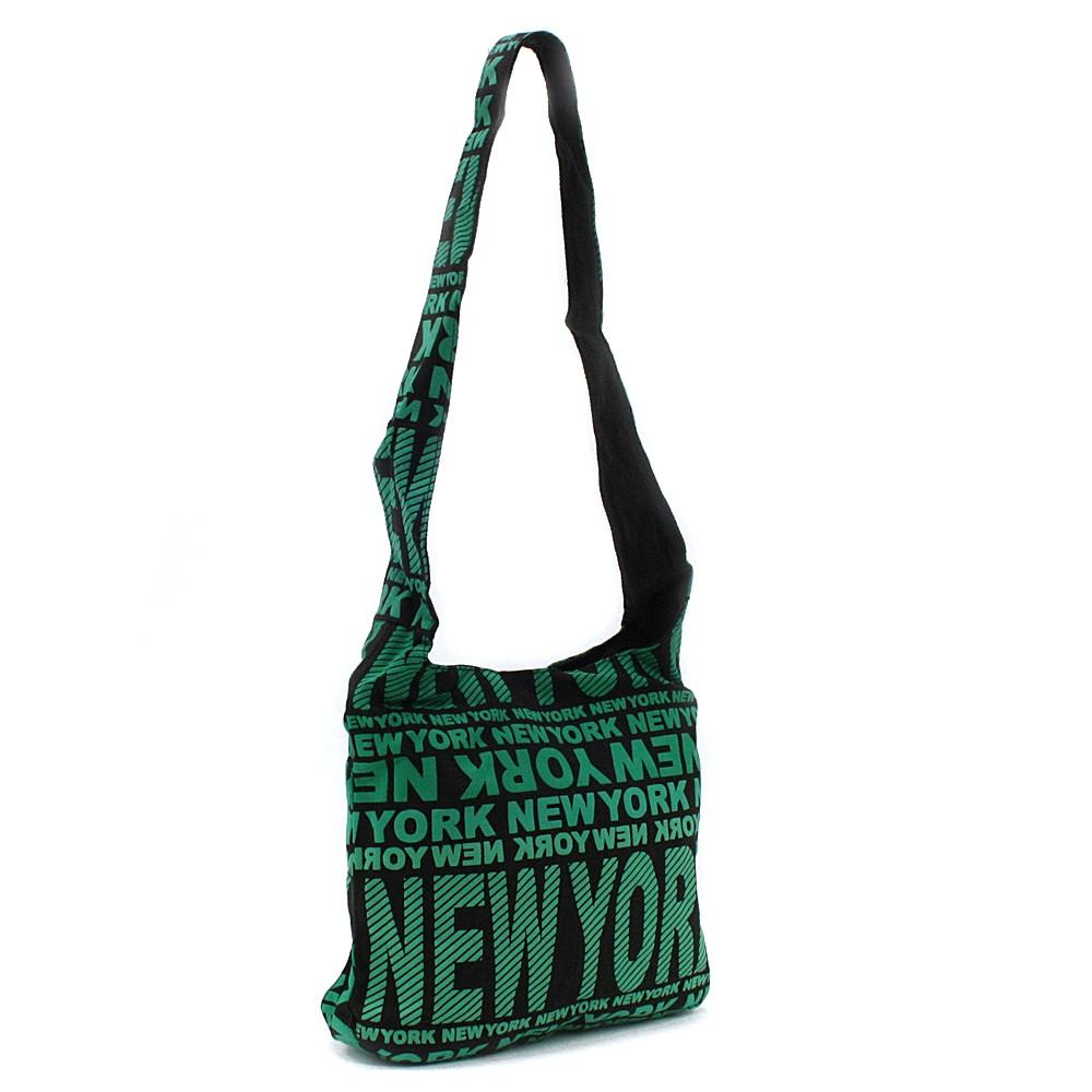 Zelená látková dámská kabelka s potiskem Adelise