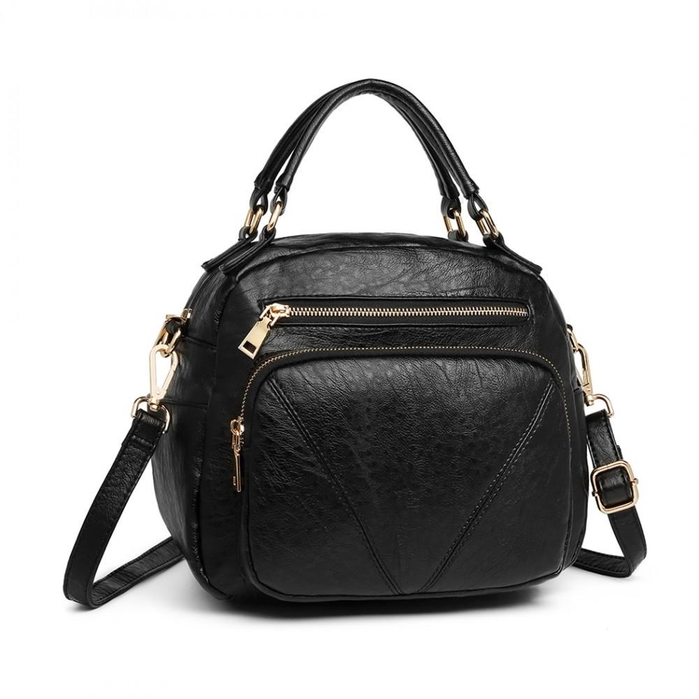 Černá ležérní dámská kabelka s ozdobným prošíváním Fawnia
