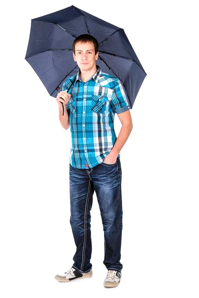 Šedý plně automatický skládací pánský deštník s kostkou Thiago