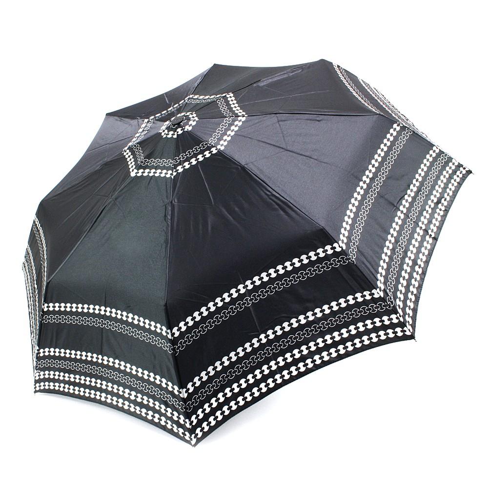 Černý plně automatický skládací dámský deštník se vzorem Oprah