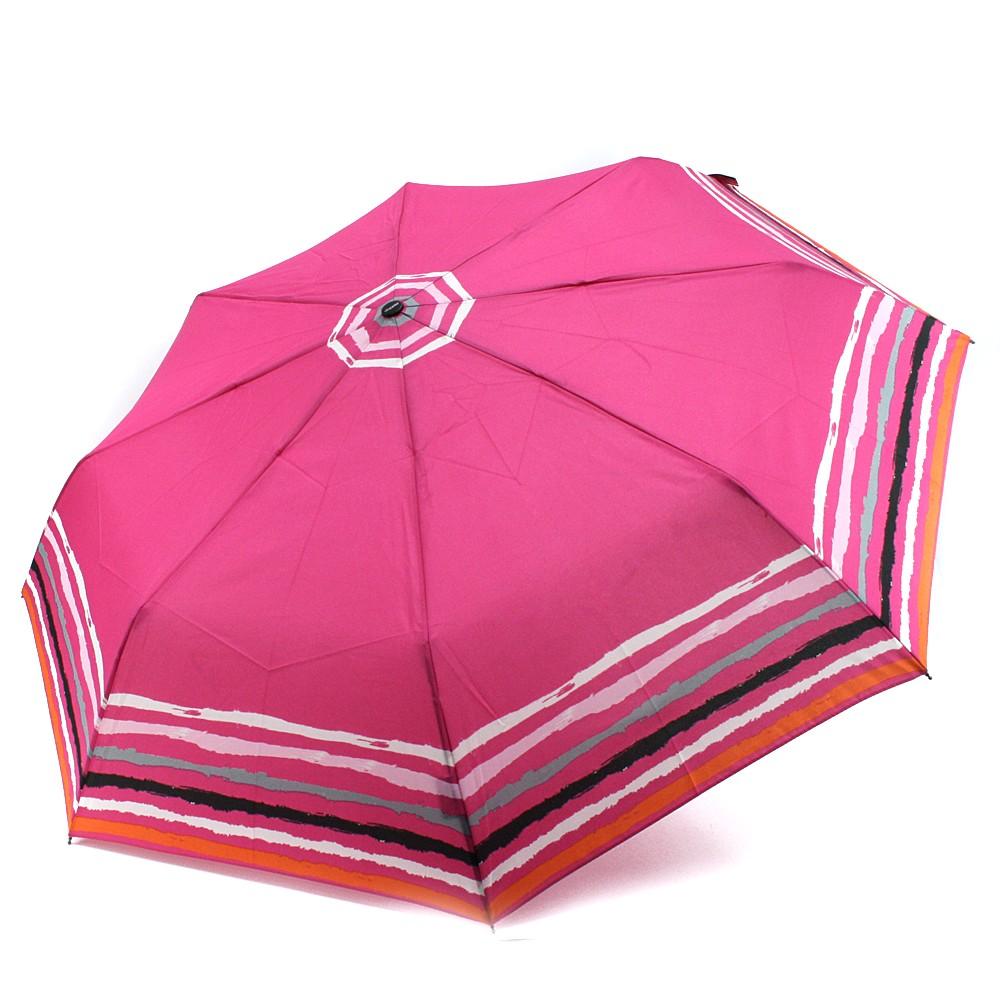 Růžový plně automatický skládací dámský deštník s pruhy Jimena