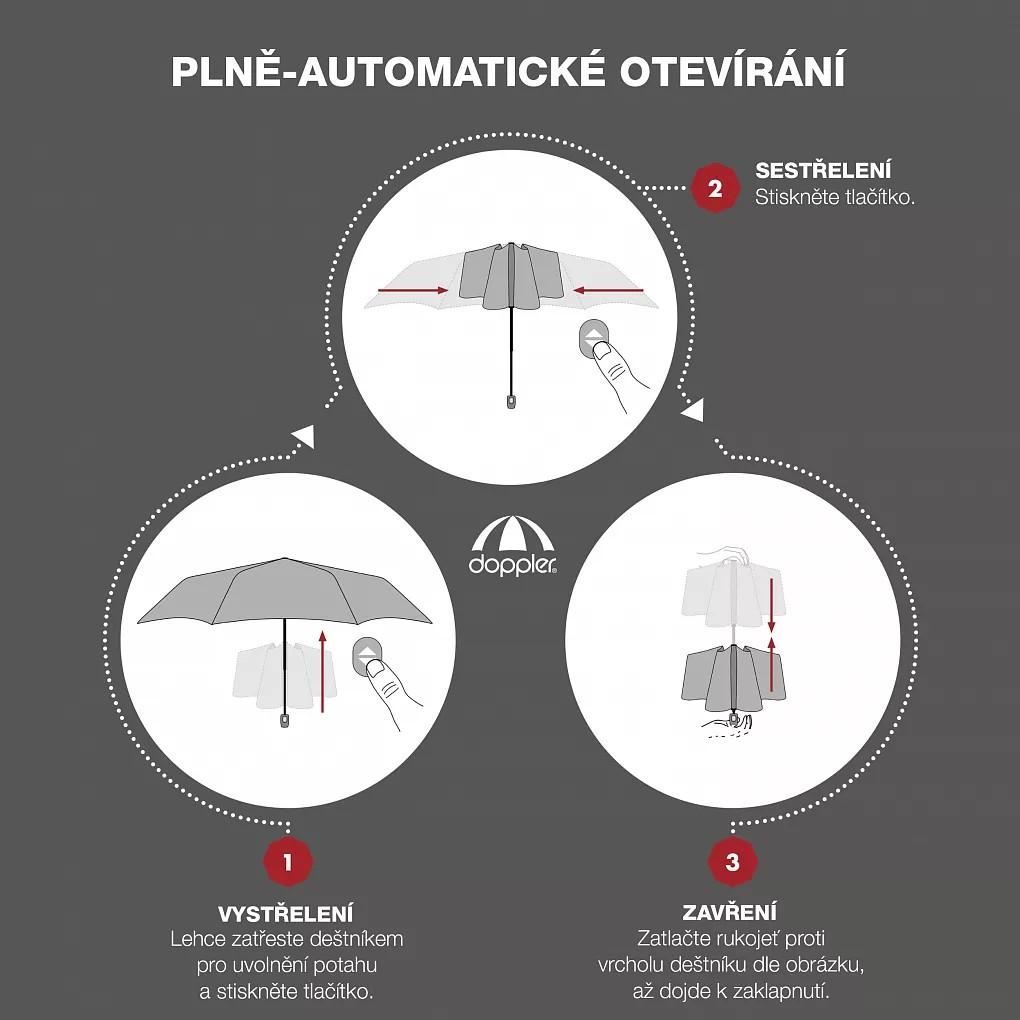 Šedý plně automatický skládací dámský deštník s pruhy Jimena