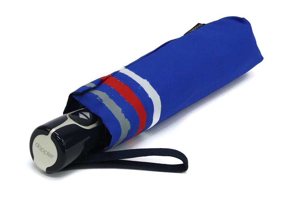 Modrý plně automatický skládací dámský deštník s pruhy Jimena