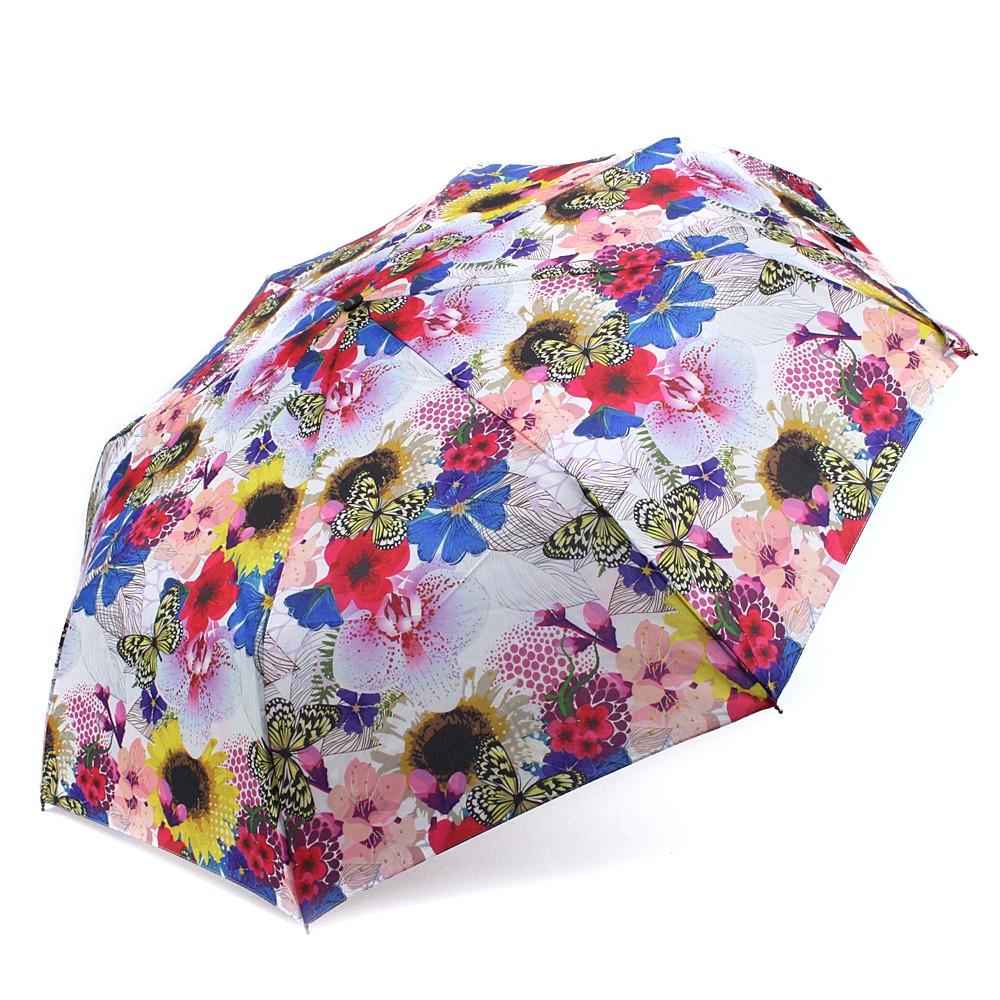 Červený plně automatický skládací dámský deštník s květy Jimena