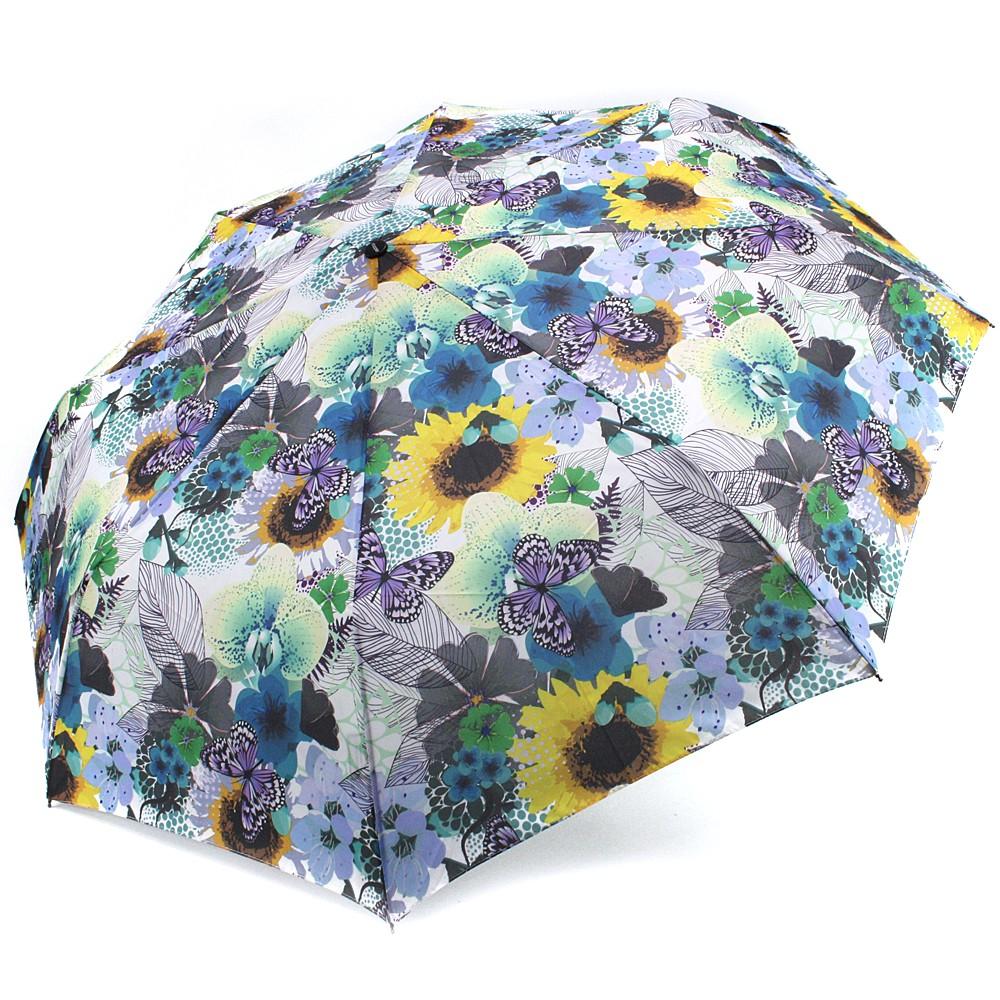 Modrý plně automatický skládací dámský deštník s květy Jimena