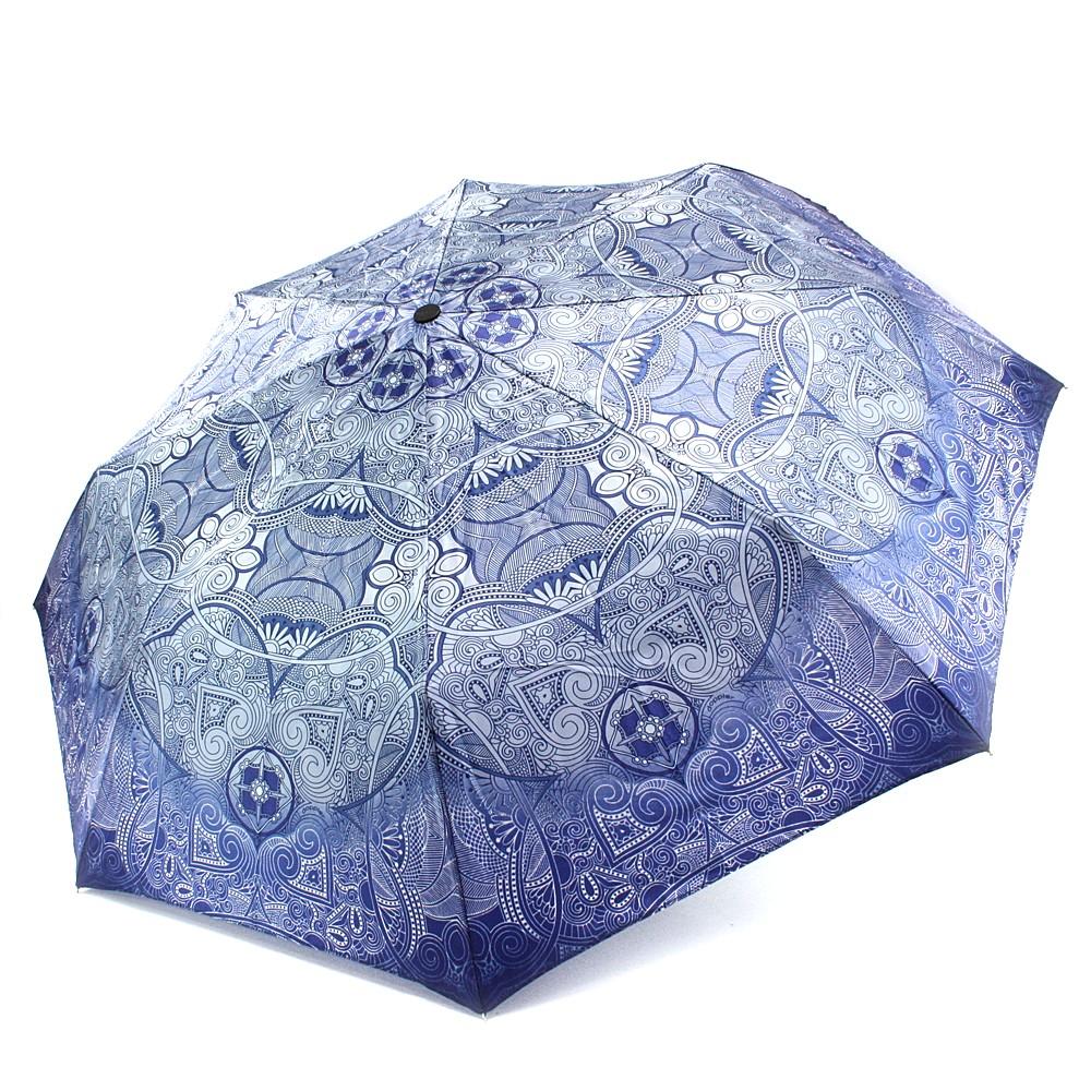Modrý plně automatický skládací dámský deštník s ornamentem Jimena