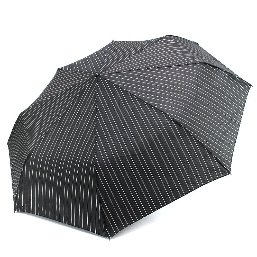 Šedý plně automatický skládací pánský deštník s pruhem Arlen