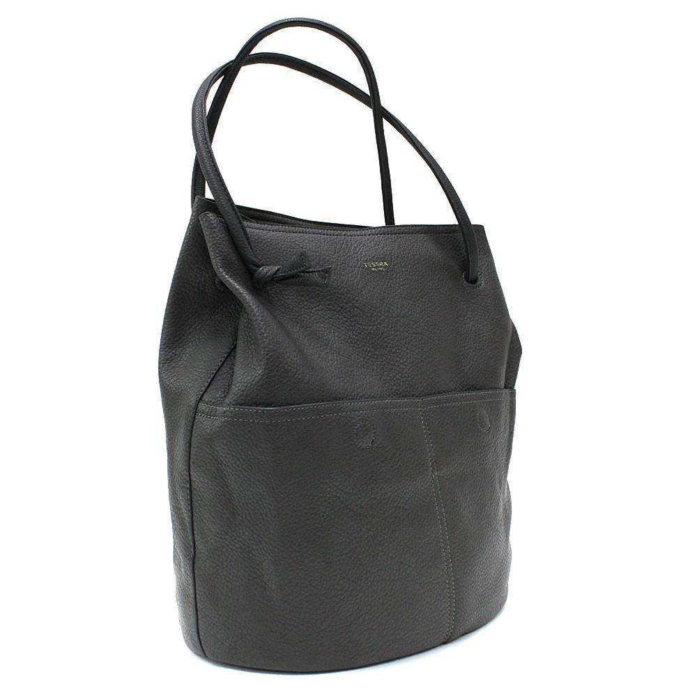 Tmavě šedá prostorná dámská kabelka ve tvaru vaku Lacyann