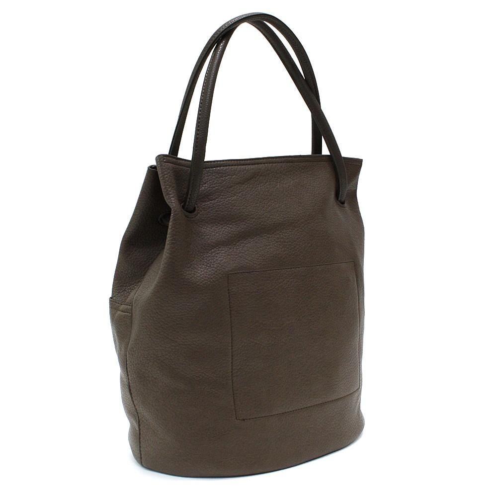Hnědošedá prostorná dámská kabelka ve tvaru vaku Lacyann