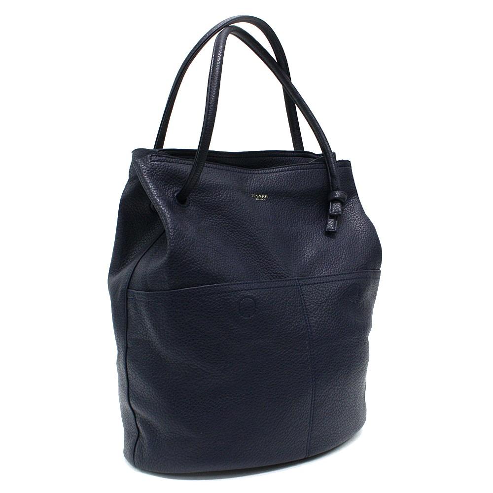 Tmavě modrá prostorná dámská kabelka ve tvaru vaku Lacyann