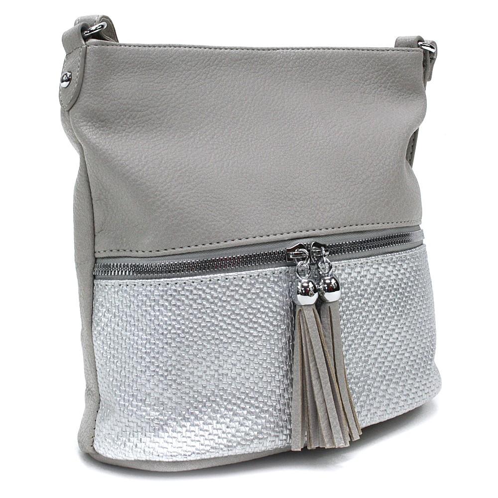 Šedostříbrná menší dámská crossbody kabelka Chardae