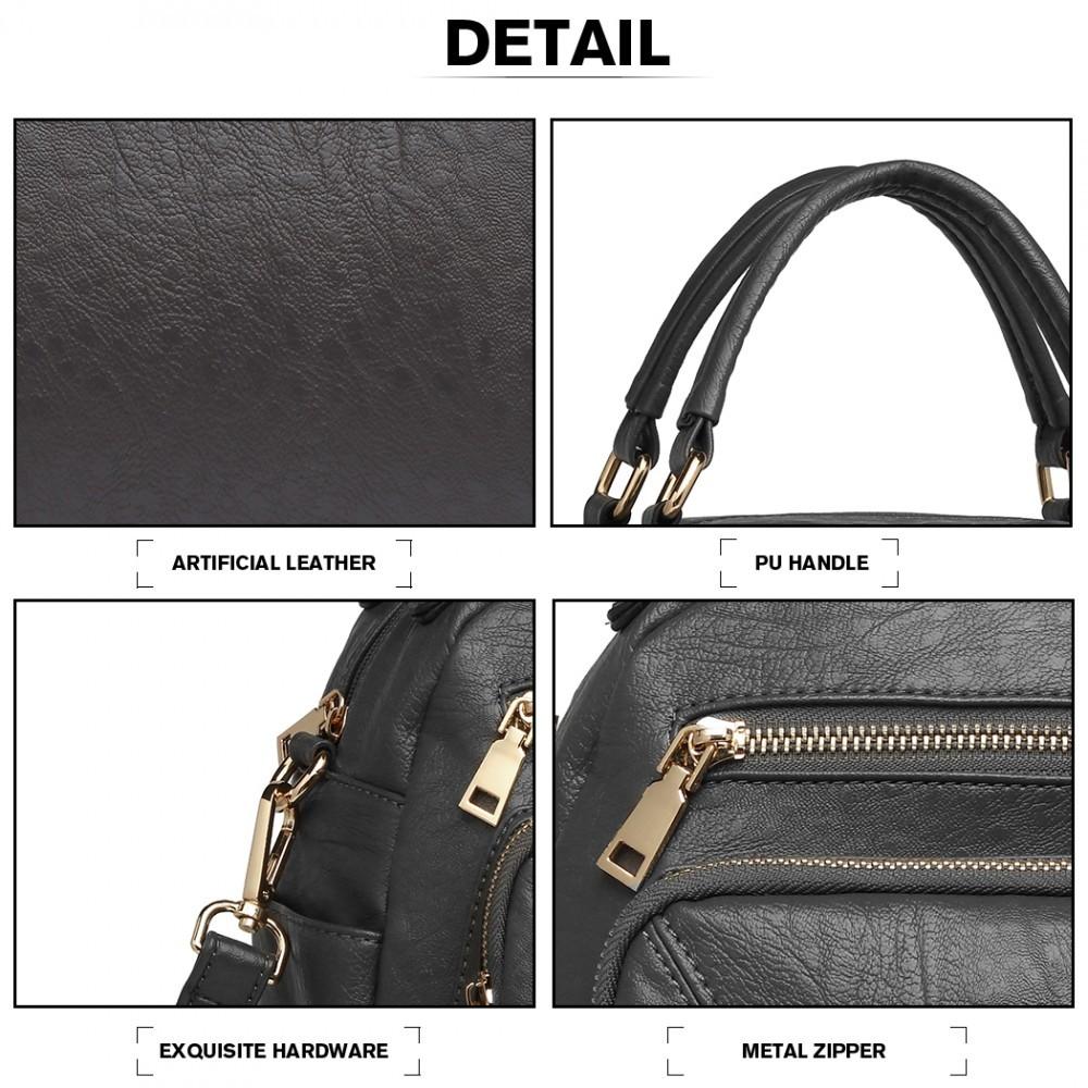 Šedá ležérní dámská kabelka s ozdobným prošíváním Fawnia