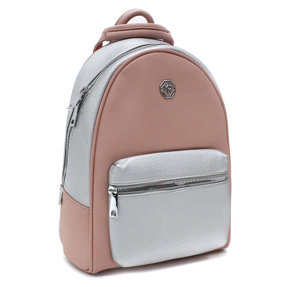Růžovostříbrný stylový dámský batoh Gianna