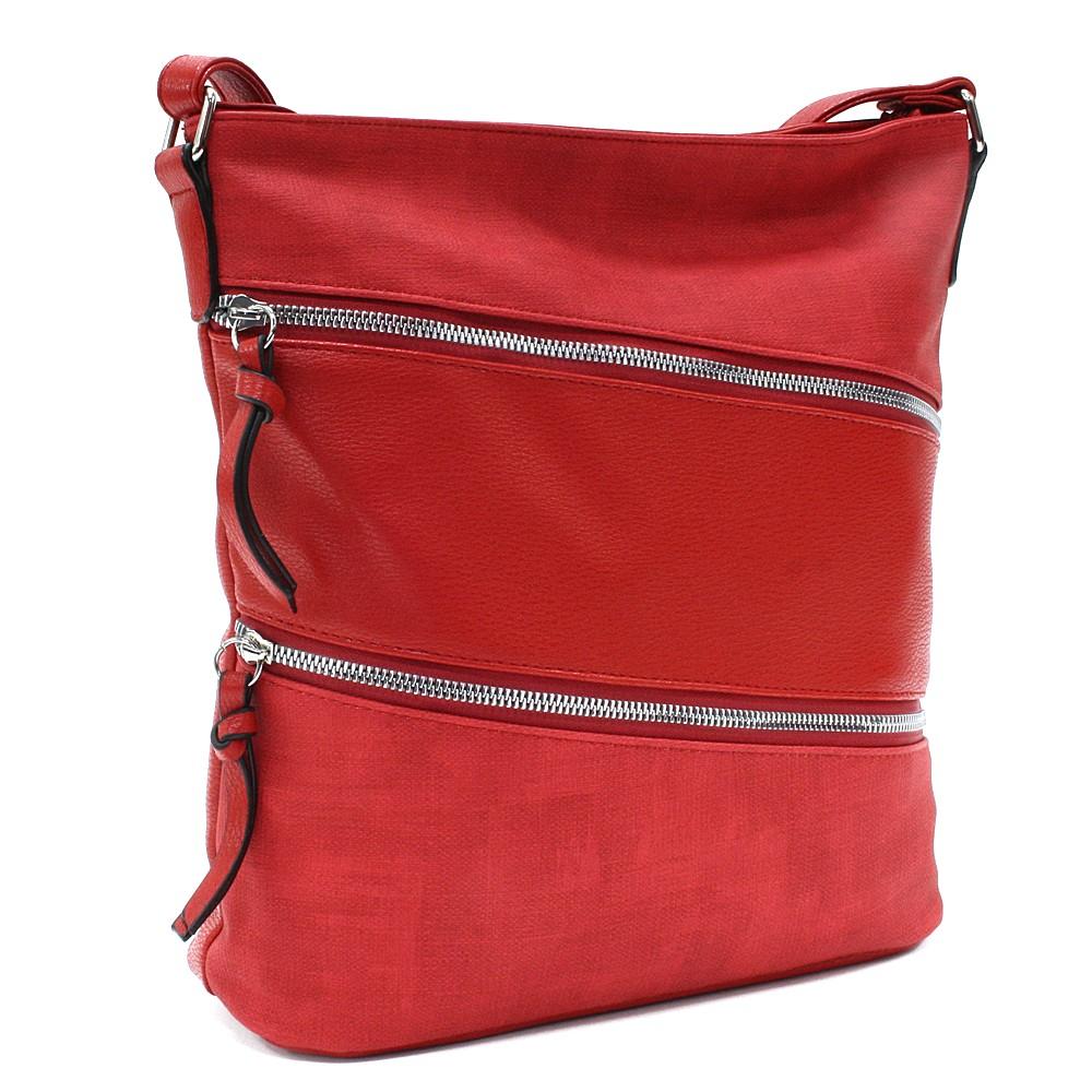 Červená dámská moderní zipová crossbody kabelka Lirienne