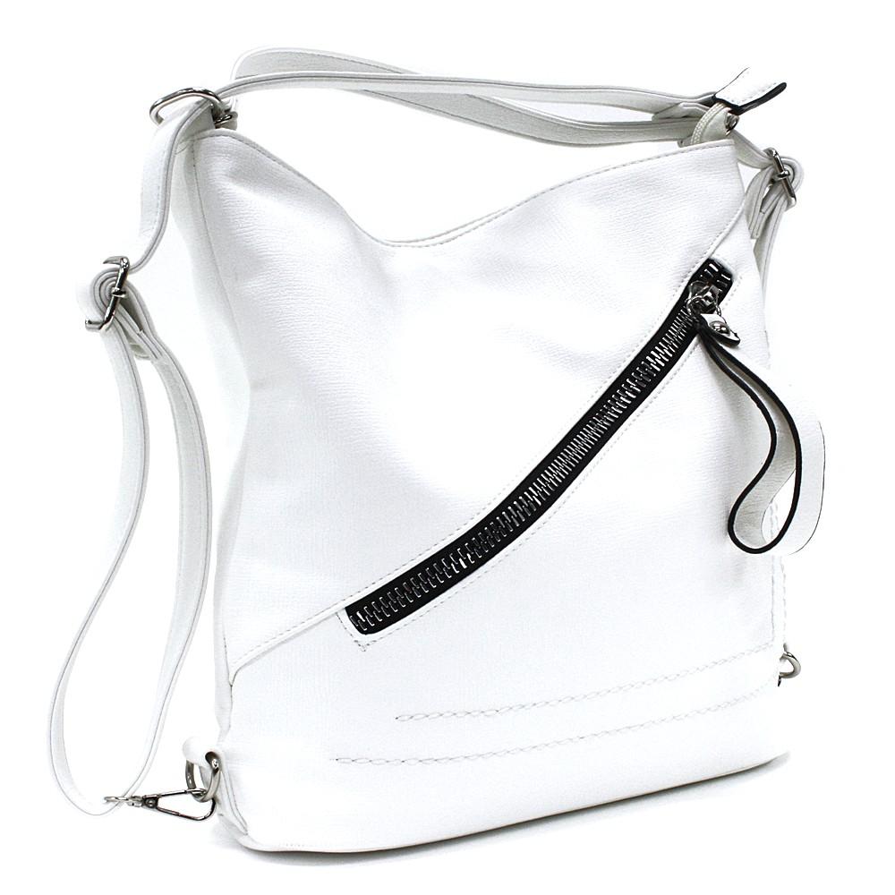 Bílá dámská kabelka s kombinací batohu Adalyn