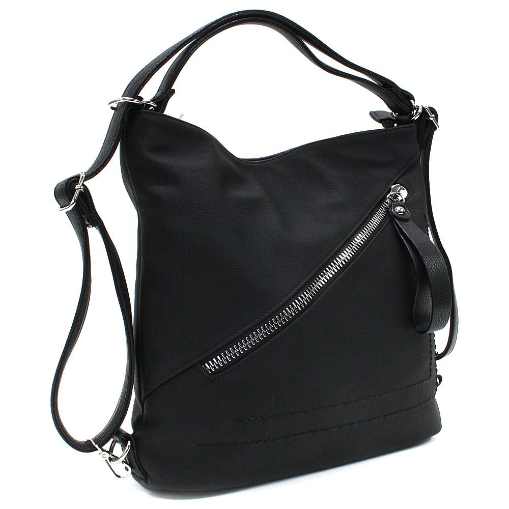 Černá dámská kabelka s kombinací batohu Adalyn