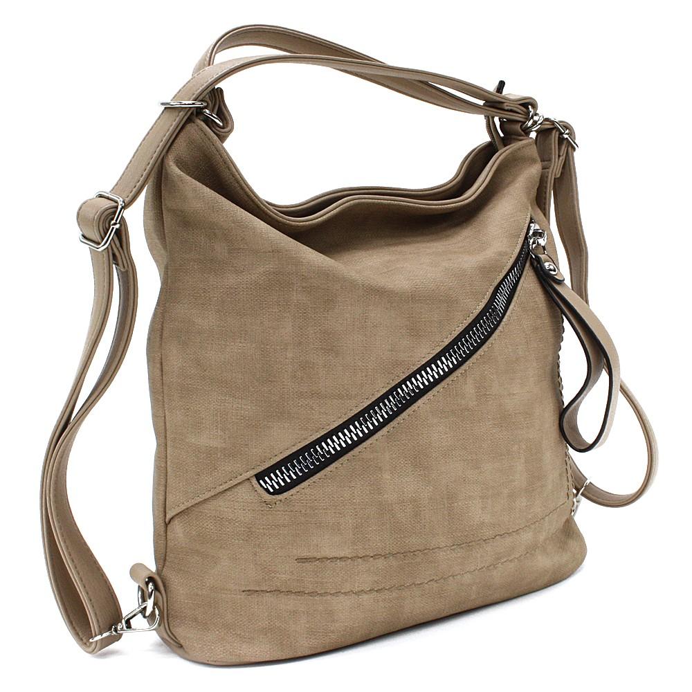 Hnědá dámská kabelka s kombinací batohu Adalyn