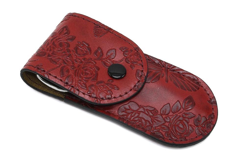 Červená cestovní kožená dámská manikúra se vzorem Hanriette
