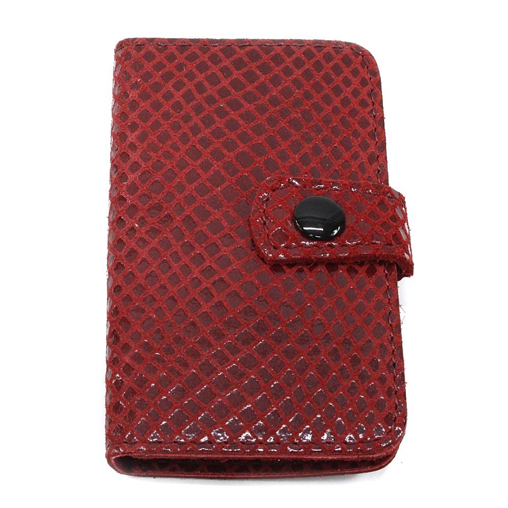 Červená cestovní kožená dámská manikúra Fanetta