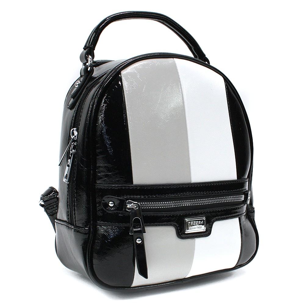 Černý dámský stylový batoh s pruhy Reginald