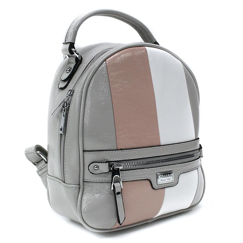 Šedý dámský stylový batoh s pruhy Reginald
