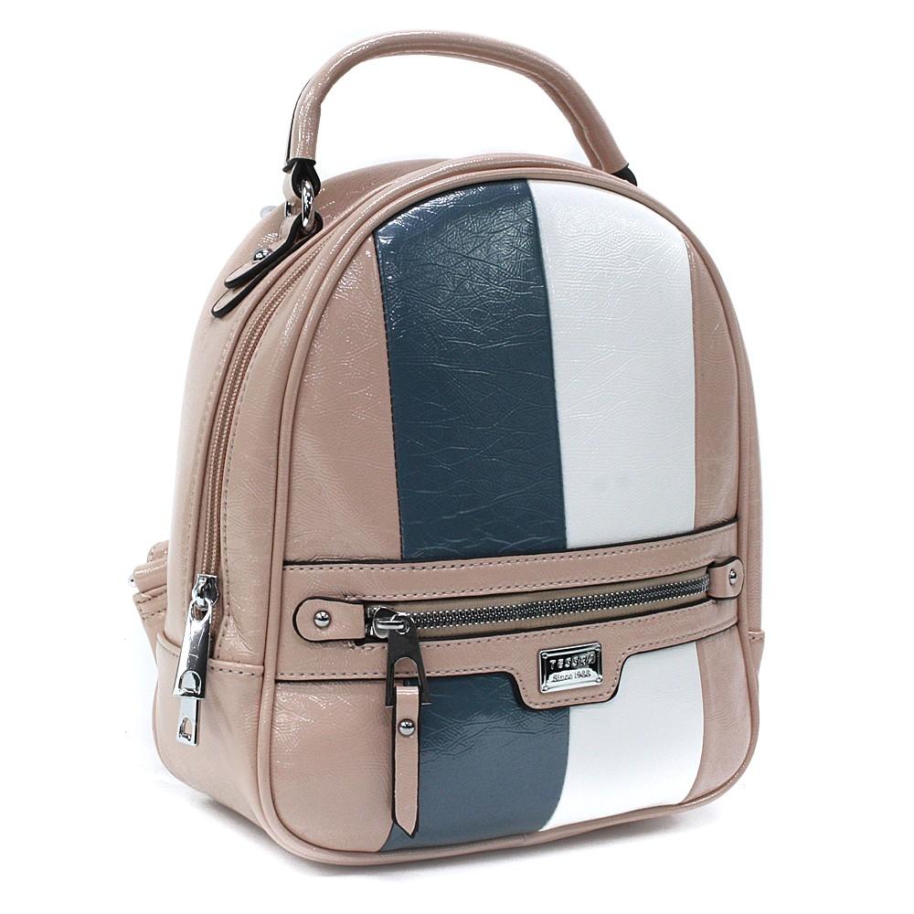 Růžový dámský stylový batoh s pruhy Reginald
