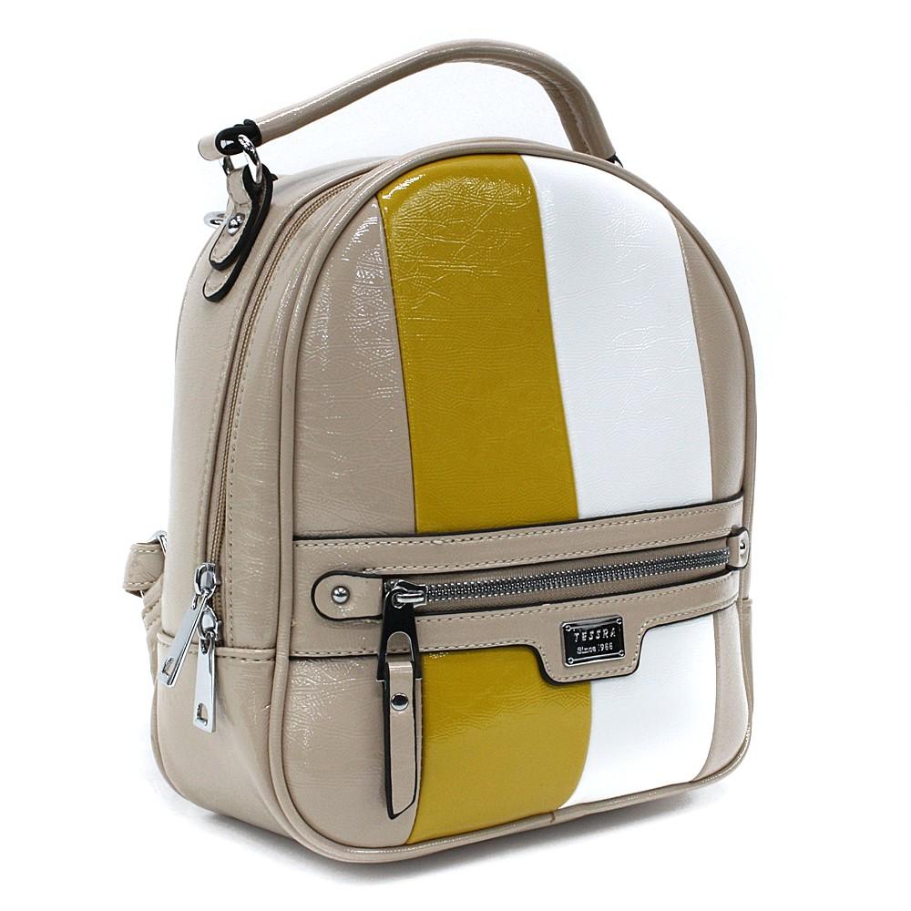 Béžový dámský stylový batoh s pruhy Reginald