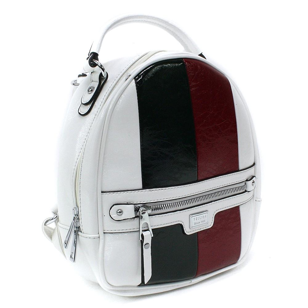 Bílý dámský stylový batoh s pruhy Reginald