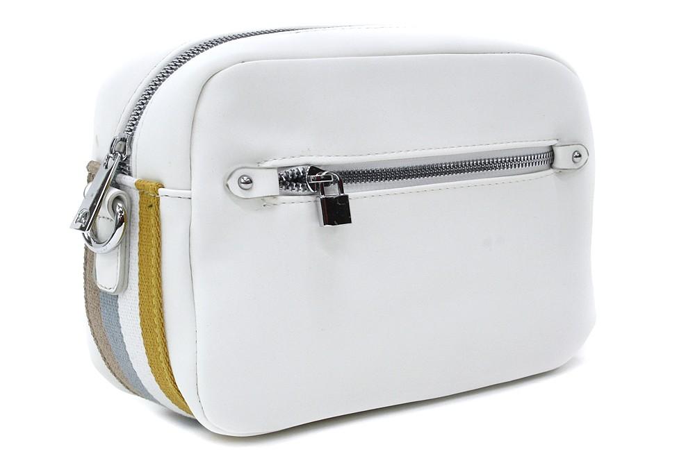Bílá obdélníková zipová dámská crosbody kabelka Gislyne