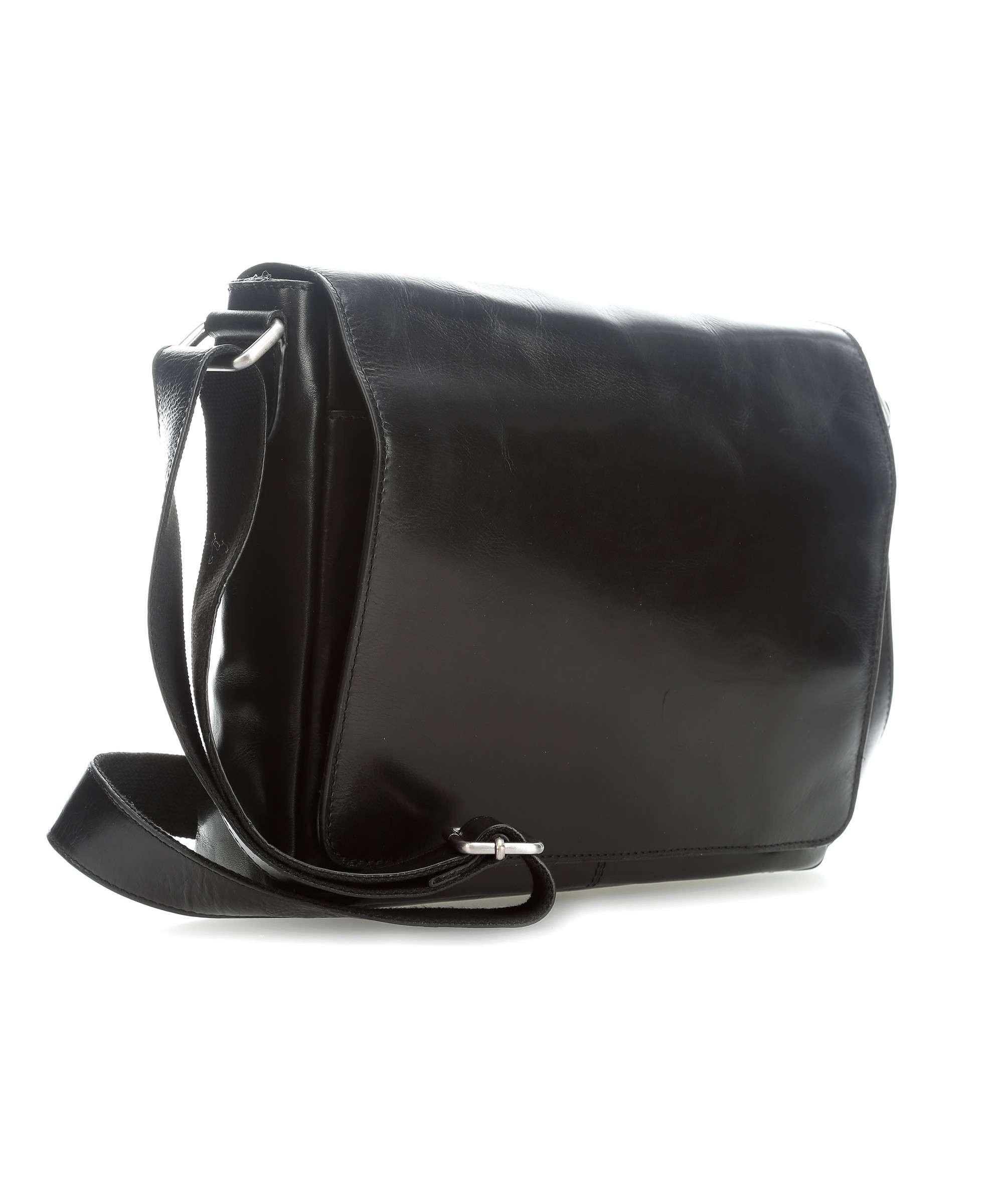 Černá luxusní klopnová kožená taška na notebook Garion