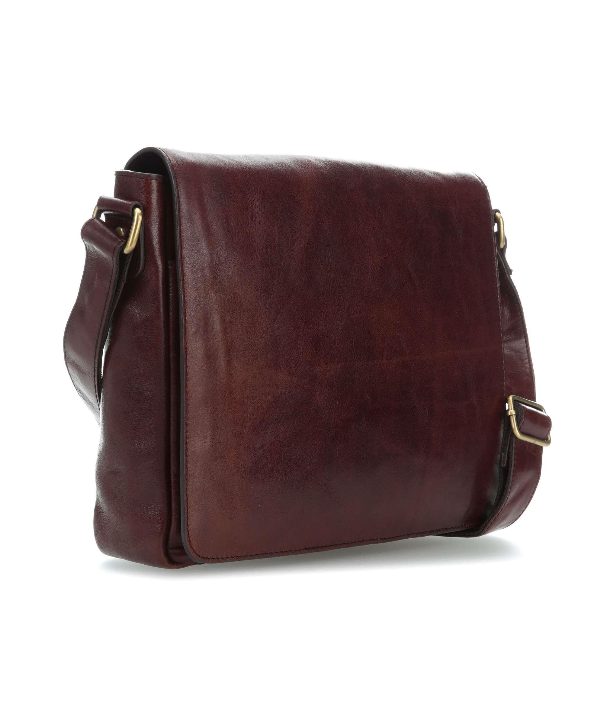 Tmavě hnědá luxusní klopnová kožená taška na notebook Garion