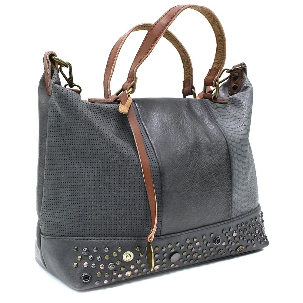 Šedohnědá luxusní dámská kabelka Calantha