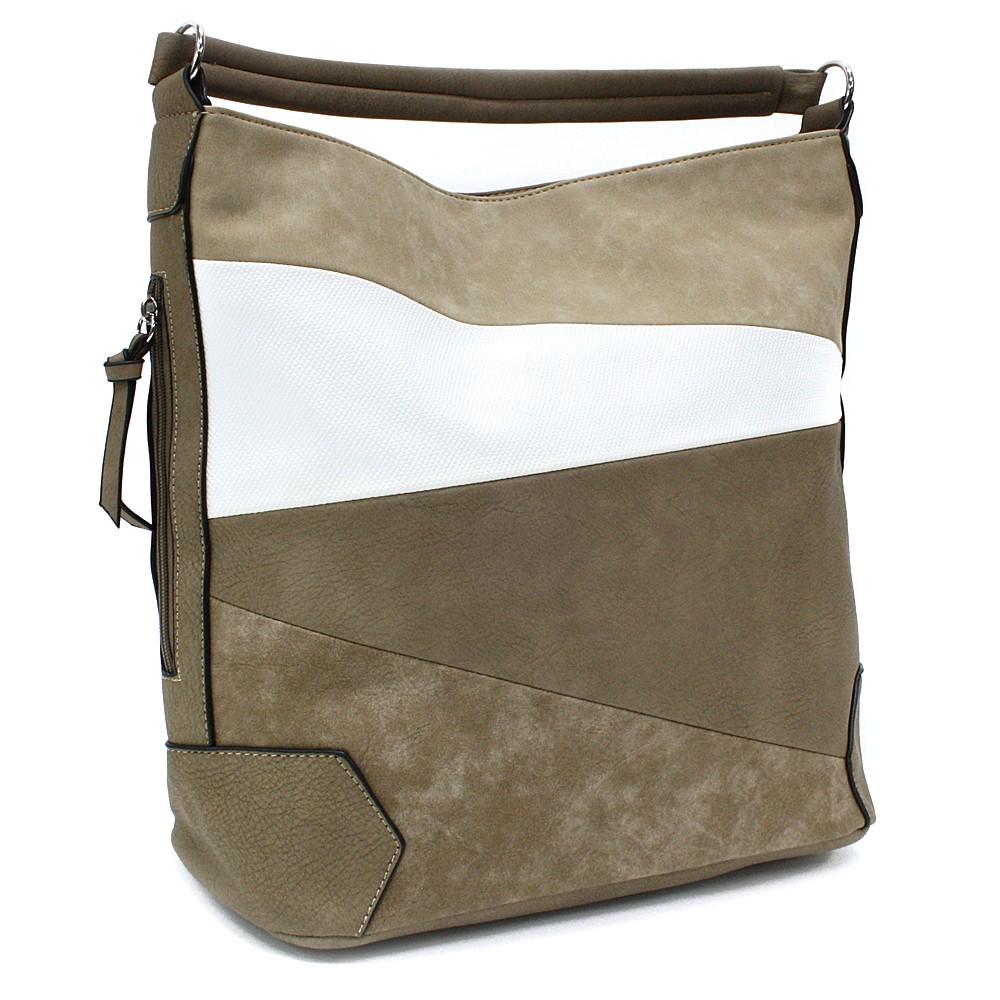 Béžovobílá velká dámská kabelka přes rameno Eliane